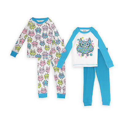 NEW Girls' 2 Pairs Tops/Pant Bottoms 4-PC Set Pajamas M 8 & L 10 Owl Print Teal
