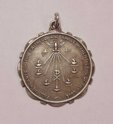 Vintage Sterling Silver Come Holy Spirit Religious Medal Christian Pendant Charm
