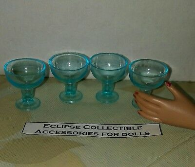 Set of 4 Acapulco Blue Margarita Glasses Goblets 4 Your 16 Inch Fashion Dolls