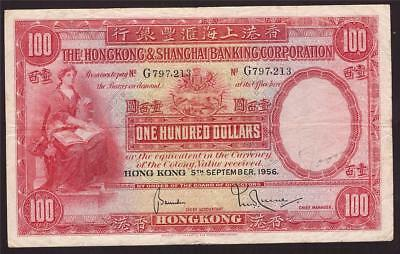 1956 Hong Kong HSBC $100 One Hundred Dollars P176f G797213 VF20 grafitti