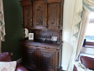 Antique Tall French Oak Carved Dresser / Sideboard / Buffet /hand carved.