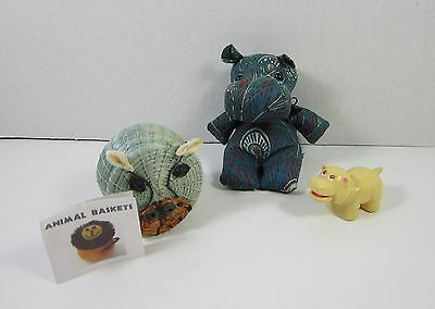 Hippos (set of 3) - Basket from Swaziland, One-of-a-kind Stuffed & Vintage Toy