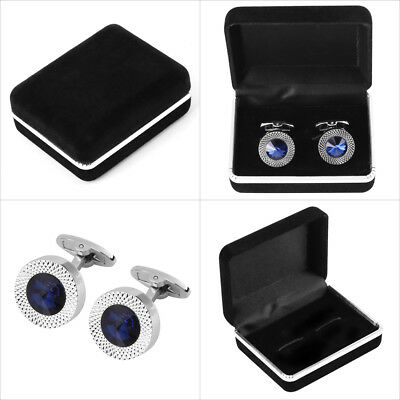 Royal Round Blue Crystal Party Cufflinks For Mens Shirt Cuff Links Wedding Groom