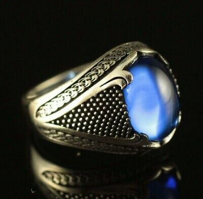 925 Sterling Silver Handmade Authentic Turkish Sapphire Men's Ring Size 9-12
