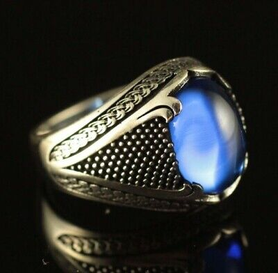 Turkish Handmade Jewelry 925 Sterling Silver Sapphire Men's Ring Size 9 10 11 12