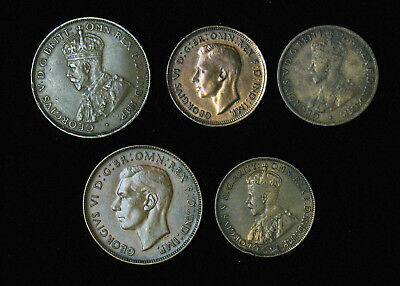 Lot of 5 Australia One and Half Penny 1926 1934 1936 1940 1946