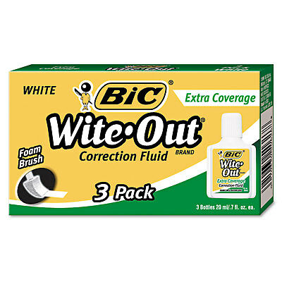 Bic Wite-Out Extra Coverage Correction Fluid 20 ml Bottle White 3/Pack WOFEC324