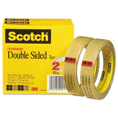 """Scotch Double-Sided Tape 3/4"""" x 1296"""" 3"""" Core Transparent 2/Pack 6652P3436"""
