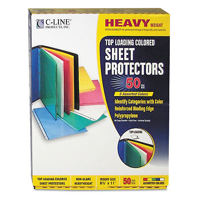 "C-Line Colored Polypropylene Sheet Protector Assorted Colors 2"" 11 x 8 1/2 50/BX"