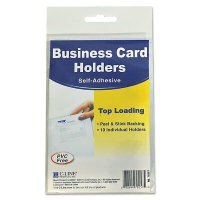 C-Line Self-Adhesive Business Card Holders Top Load 3 1/2 x 2 Clear 10/Pack