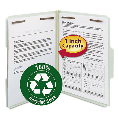 "Smead Recycled Pressboard Fastener Folders Letter 1"" Exp. Gray/Green 25/Box"