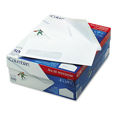 Columbian Poly Klear Single Window Envelopes #10 4 1/8 x 9 1/2 White 500/Box