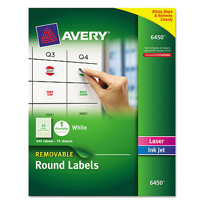 "Avery Removable Multi-Use Labels 1"" dia White 945/Pack 6450"