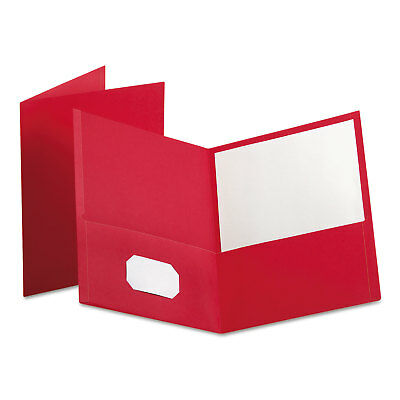 Oxford Twin-Pocket Folder Embossed Leather Grain Paper Red 25/Box 57511