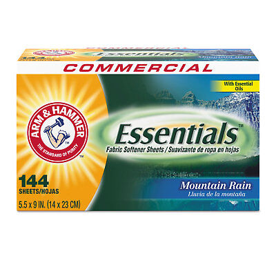 Arm & Hammer Essentials Dryer Sheets Mountain Rain 144 Sheets/Box 6 Boxes/Carton