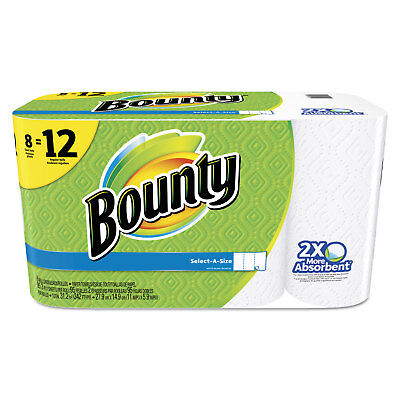 Bounty Select-a-Size Perforated Roll Towels 11 x 5.9 White 95 Sheets/Roll 8/Pack