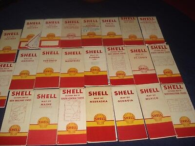 Large Lot Of Vintage Shell Road And State Maps ( 23 )