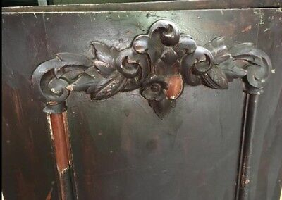 Vintage Distressed French Carved Single Armoire Wardrobe