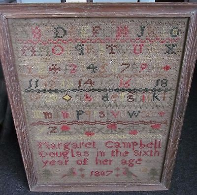 Vintage  Antique sampler M Campbell 1807