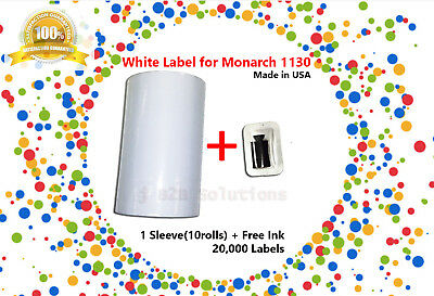 1 Sleeve Of Monarch 1130 White Label (10 Rolls / 20,000 Labels)
