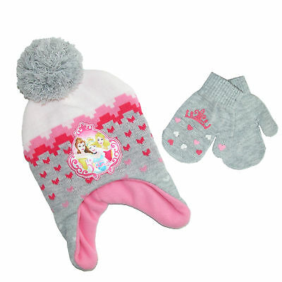 New Disney Infant / Toddler's Princess Hat and Mitten Winter Set