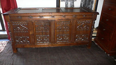 Gothic Style Carved Trunk/Chest 1890 Oak