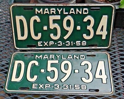 1958 Maryland License Plates Tags Matched Pair # DC 59 34 Original *** Nice ***