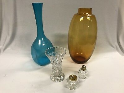 Two Retro Coloured Glass Vases, Cut Glass Vase & Small Condiments Items