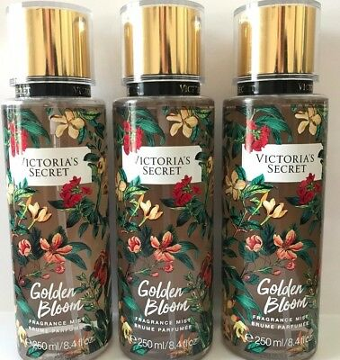 3 Victoria's Secret Fragrance Perfume Mist For Women Wild Flora Golden Bloom