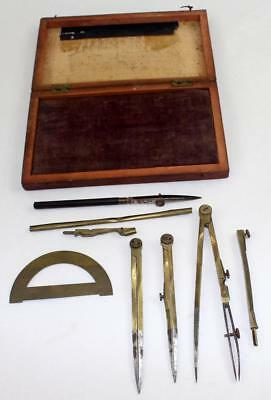 Antique Set of Brass Drafting Tools in Original Wooden Box