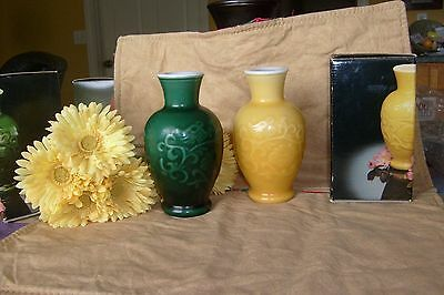 Two Avon spring bouquet fragrance vases jade green, amber, 1981