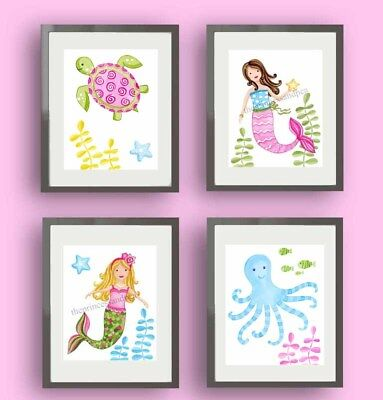 mermaid nursery art prints mermaid bedding bedroom wall art decor pictures
