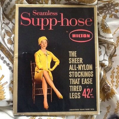 Vintage early 60's Hilton Seamless Supp~hose Sheer All Nylon Support Stockings