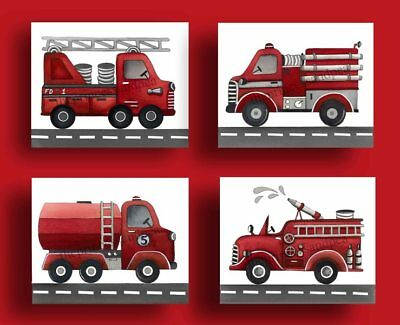 vintage firetruck nursery wall art print fire trucks bedding decor picture