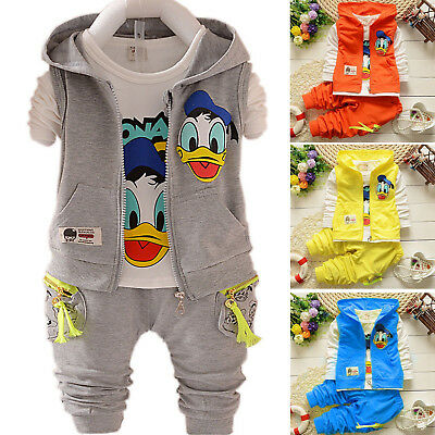 3PCS kids baby boy Girl cartoon coat + T shirt + pants Outfit set autumn clothes