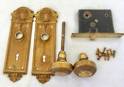 Antique Vintage Brass Door Knob Set Heavy Solid Fancy Plates Mortised Hardware