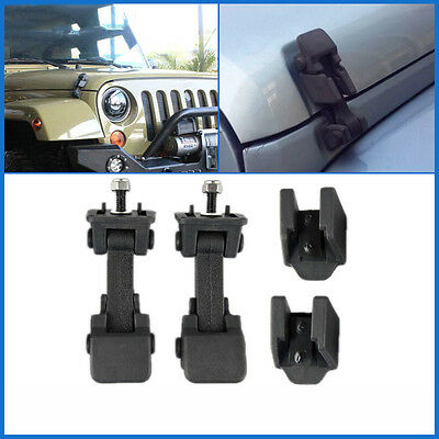 Pair Hood Catches Lock Latch Buckle For Jeep Wrangler JK Unlimited 07-16 Black