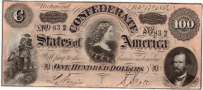 T65 1864 $100 CONFEDERATE STATES Currency CSA Civil War Paper Money 89832