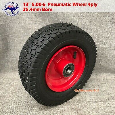 "13"" 5.00-6 BORE 25.4mm Pneumatic Wheels Trolley Cart Wheelbarrow Tyres Wheel"