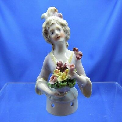 Antique Half Doll LARGE FLOWER BOUQUET Pin Cushion Doll