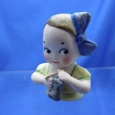 Antique Half Doll Bisque Child Knitting Blue Ribbon, DARLING!