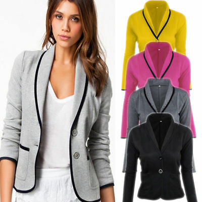 Womens Casual Formal Jackets Slim Short Single Breasted Blazer Ladies Suit Coats