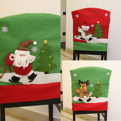 Christmas Chair Back Cover Dinner Table Party Decoration Gift -Santa/Snowman/Elk
