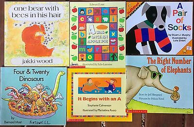 Lot of 6 alphabet and counting children's picture books teacher homeschool math