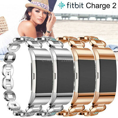 Replace Stainless Steel Watch Band Sport Strap Wristband for Fitbit Charge 2