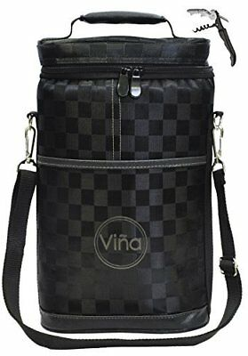 Vina 2 bottle Wine Carrier Bag Insulated Wine Carrier Tote Champagne Cooler