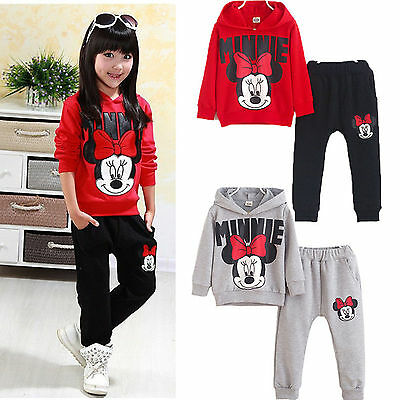 Toddler Kids Girls Minnie Mouse Outfits Clothes T-shirt Tops+Long Pants 2PCS Set