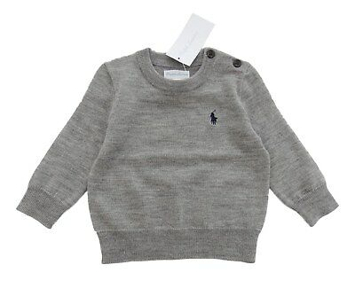 RALPH LAUREN baby boy grey WOOL JUMPER crew neck 6 9 12 18 24M fine knit BNWT