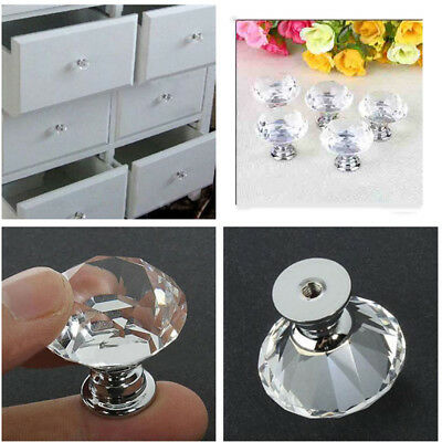 10 pcs 30mm Crystal Glass Knobs Pull Handles Cabinet Cupboard Drawer Door Bling