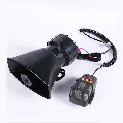 12V 100W Motorcycle Car Truck Alarm 5 Sounds Tone Loud Horn Siren Loudspeaker